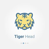 Tiger Head avatar vector icon