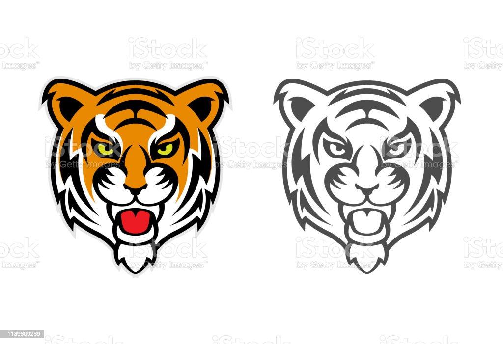 Tiger Head Clipart Mascot Logo Stock Illustration - Download