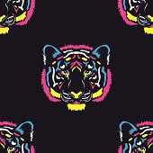 Tiger head colored cmyk colors pattern