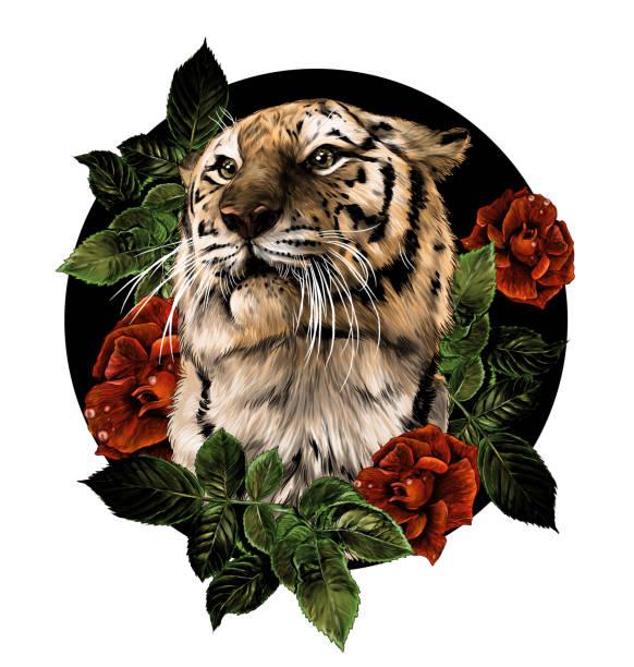 tiger head composition of flowers and plants surrounded by rose bushes – artystyczna grafika wektorowa