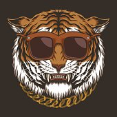 Tiger head eyeglasses vector illustration for your company or brand