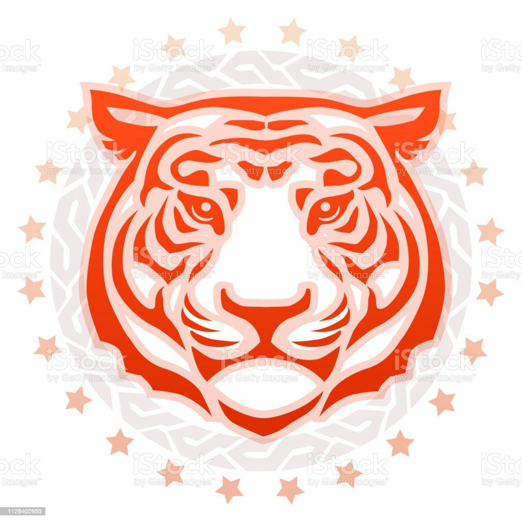 Tiger Head front view Circular Tattoo