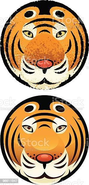 Tiger Kopf In Circle Stock Vektor Art und mehr Bilder von Charakterkopf
