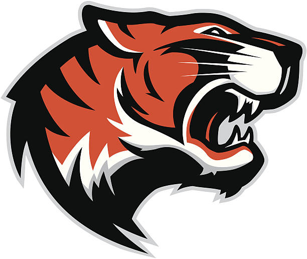 tiger head mascot 2 - tiger stock illustrations, clip art, cartoons, & icons