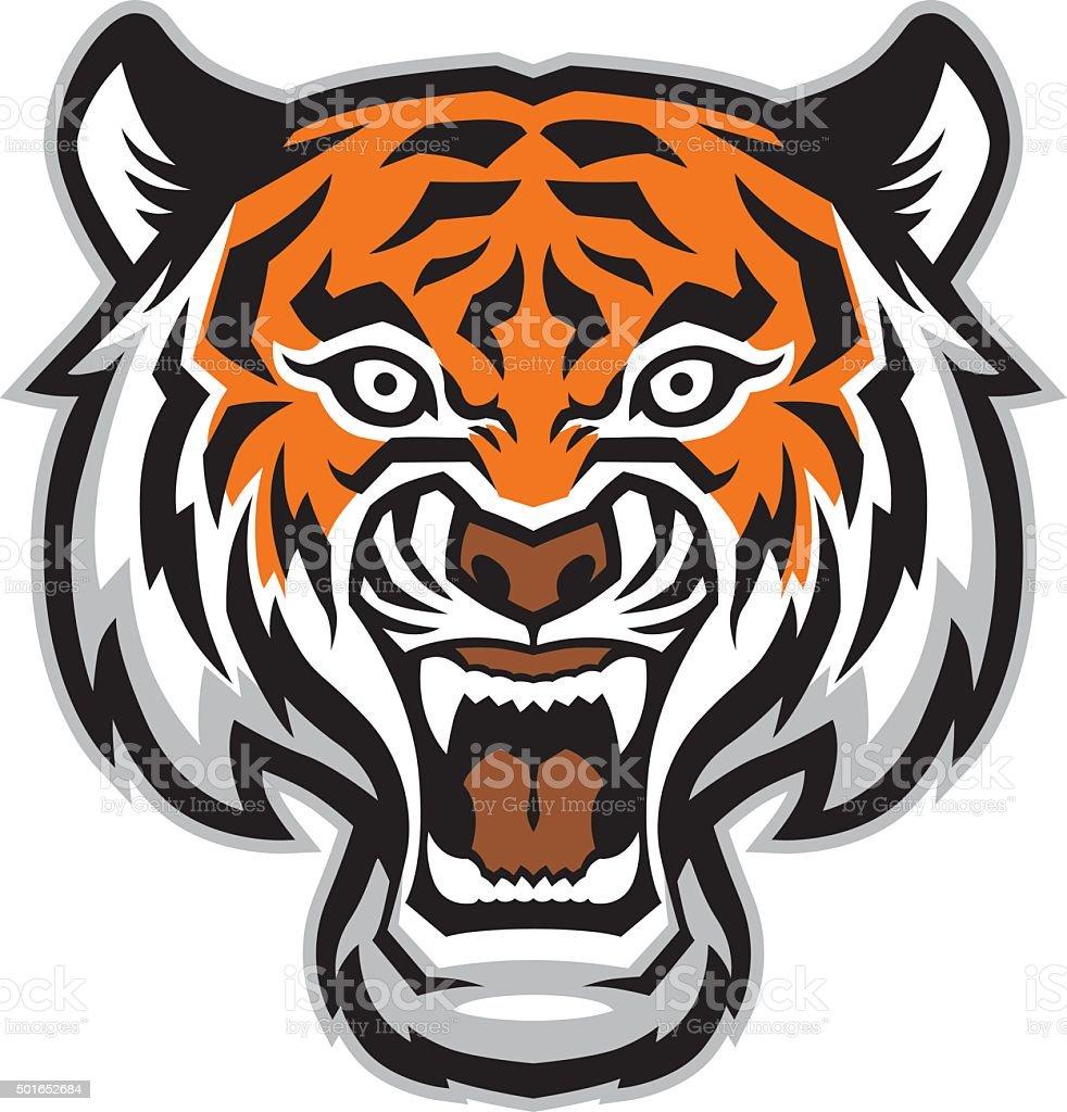 tiger head mascot vector art illustration