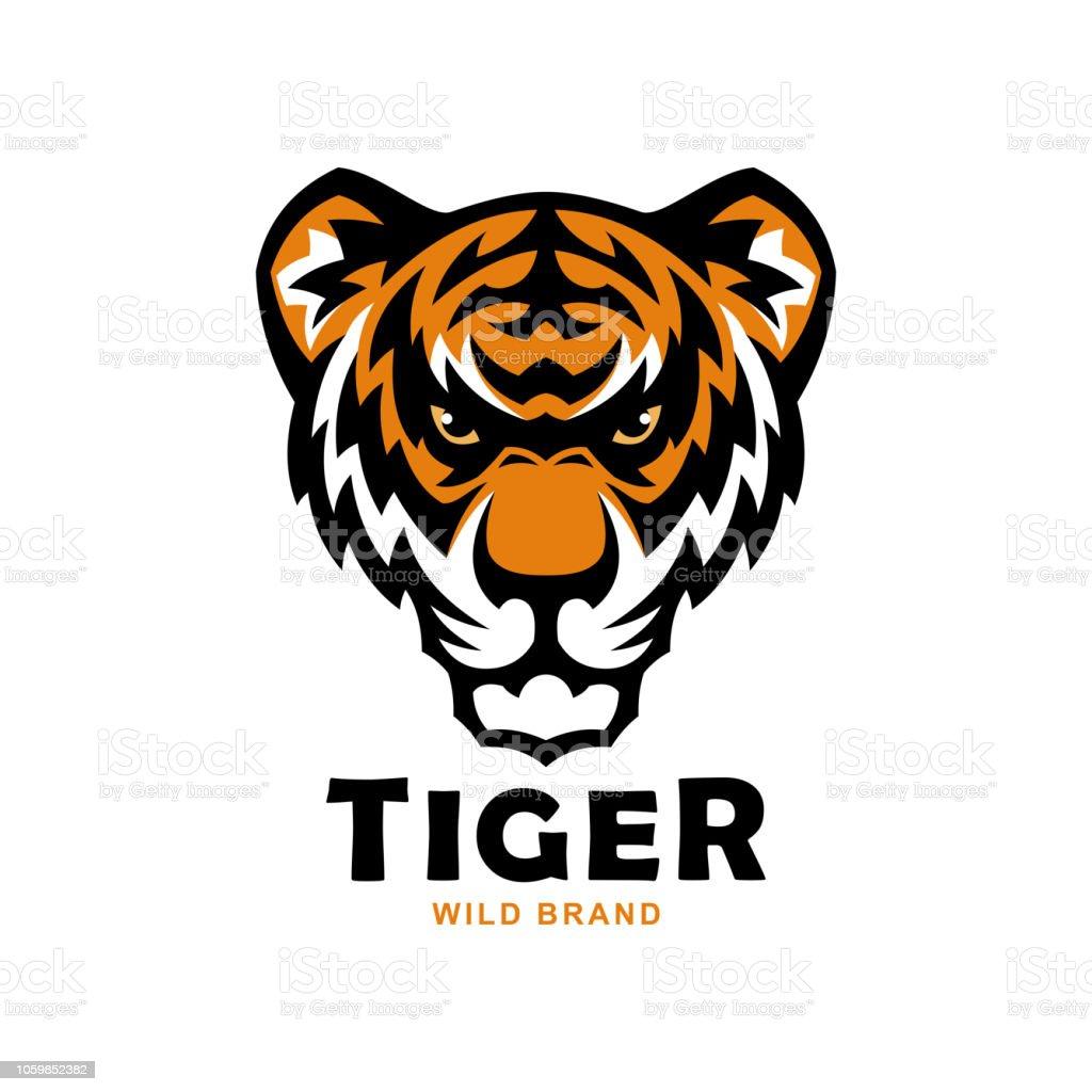 Tiger head mascot. Wild tiger vector illustration