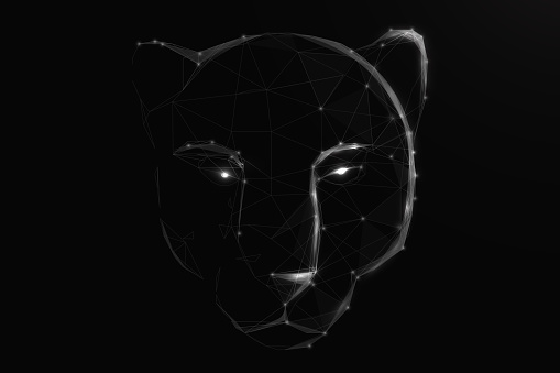 A tiger head or black panther. Low poly, lines, triangles, and particle style design. Vector illustration