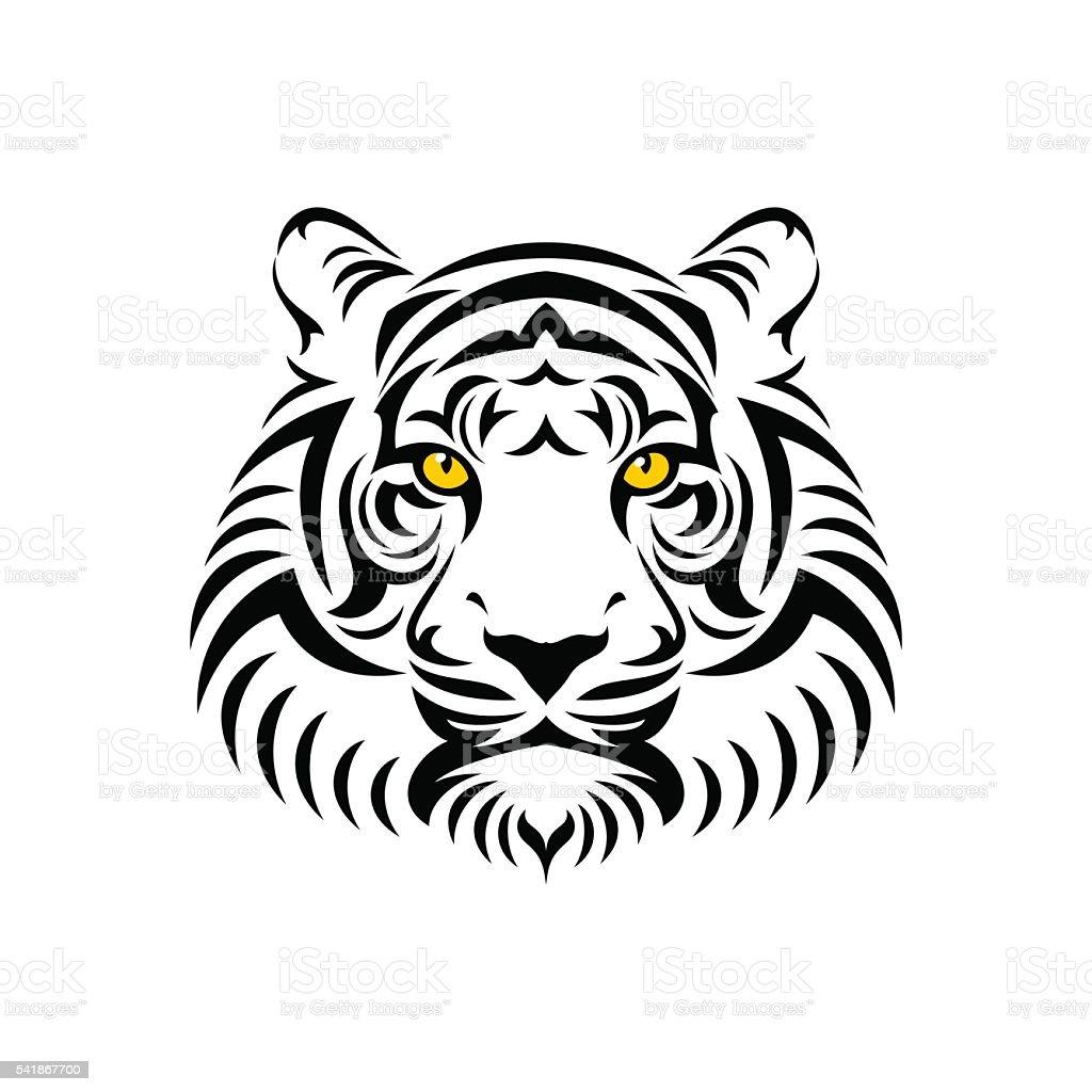 Tiger head sign vector art illustration