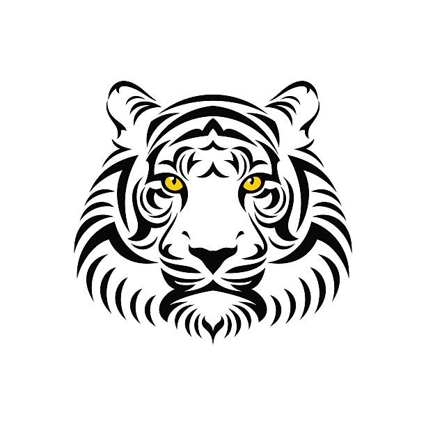 tiger head sign - tiger stock illustrations, clip art, cartoons, & icons