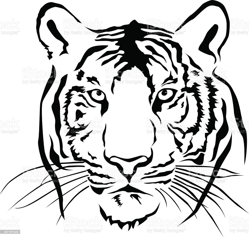 Tiger Head Silhouette Vector Stock Illustration - Download ...