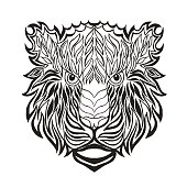 Tiger head. Sketch for tattoo or t-shirt