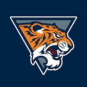 Tiger head logo. Cartoon character vector. Great for sports logos & team mascots.