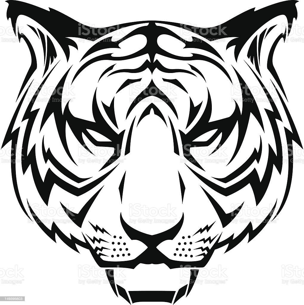 tiger head tattoo stock vector art amp more images of animal