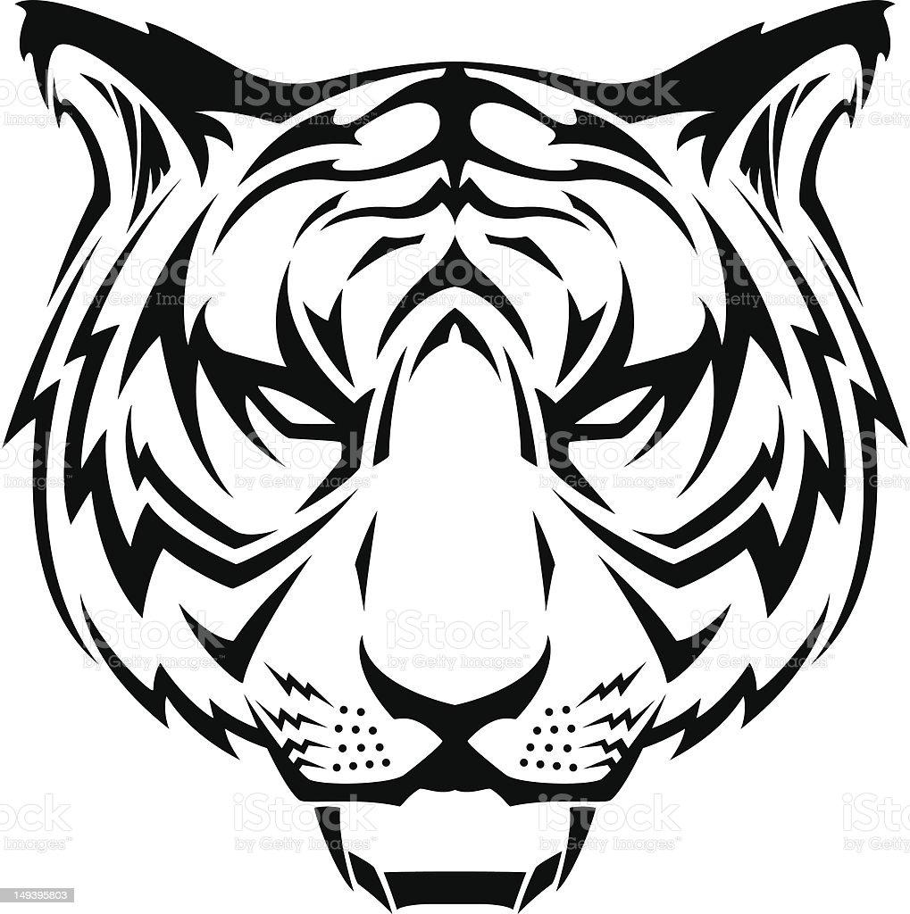 Tiger Head Tattoo vector art illustration