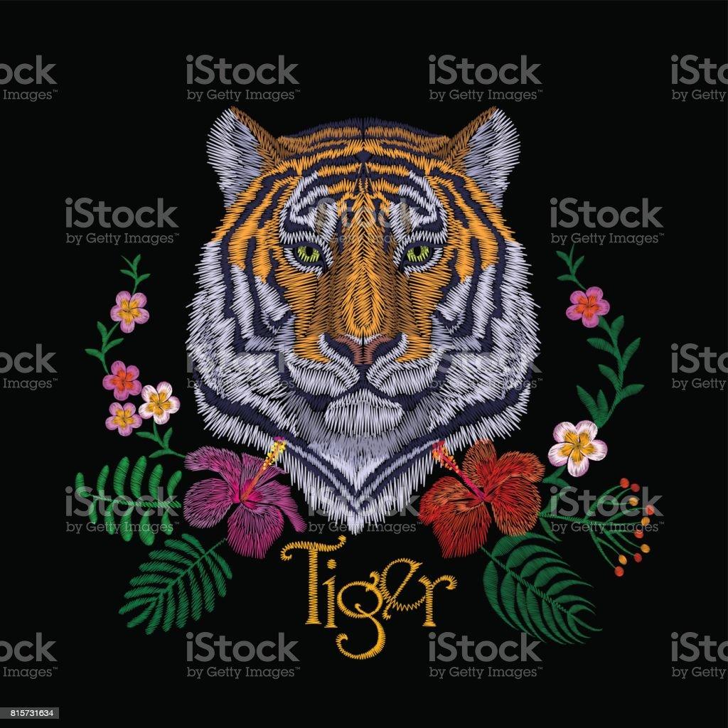 タイガー ヘッドの熱帯花。正面の刺繍パッチのステッカー。オレンジ ストライプ黒野生動物ステッチ テクスチャ絵柄はプリント。ジャングルのロゴのベクトル図 ベクターアートイラスト