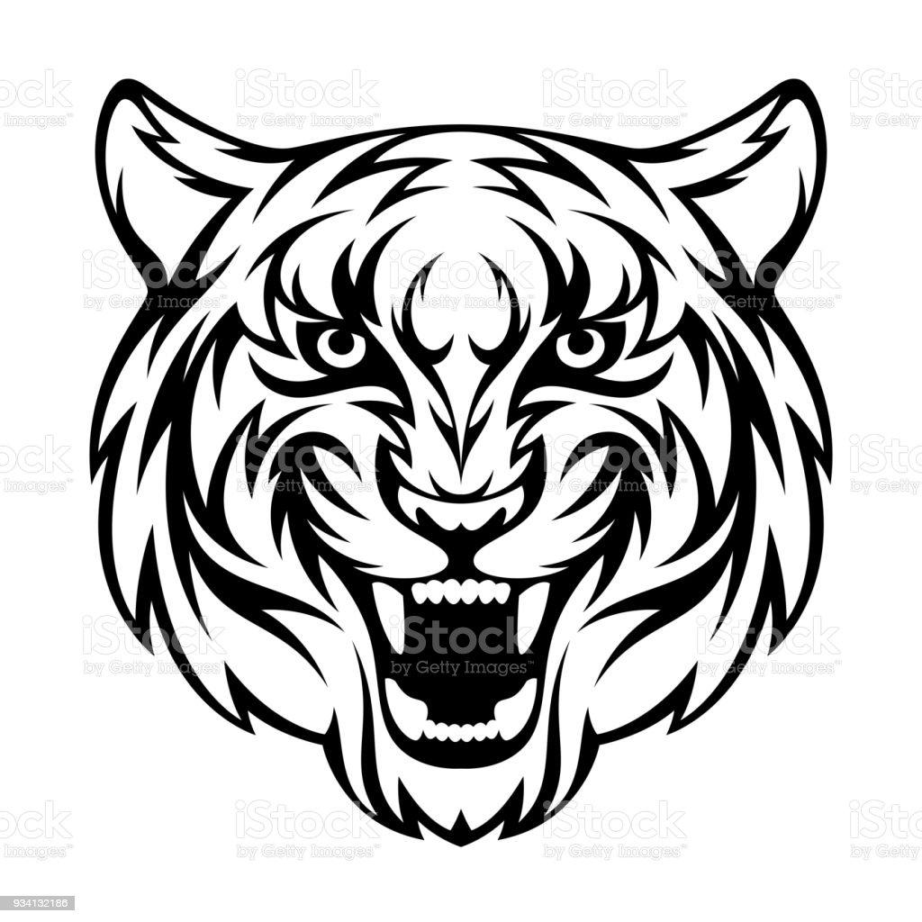 Tête de tigre - clipart vectoriel de Afrique libre de droits