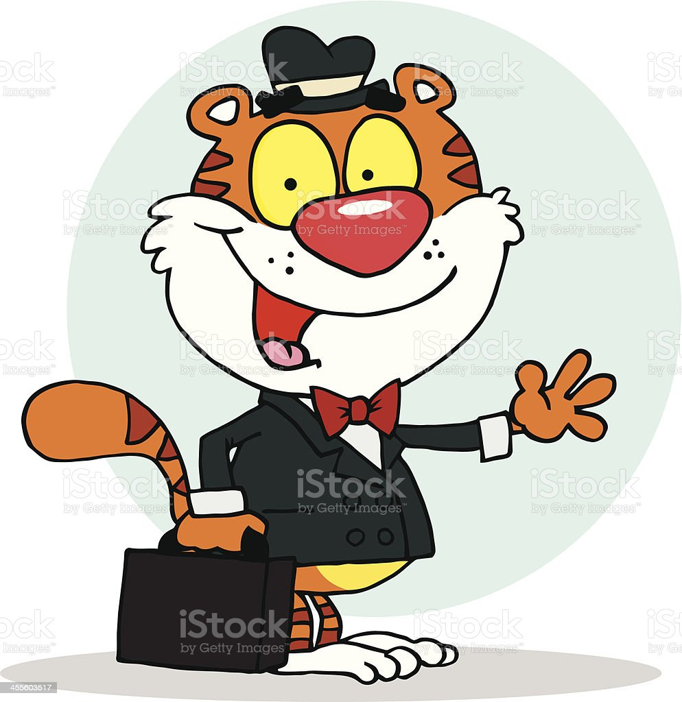 Tiger Holding A Briefcase With Background royalty-free stock vector art