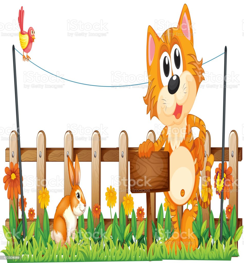 Tiger holding an empty wooden signboard near the fence vector art illustration