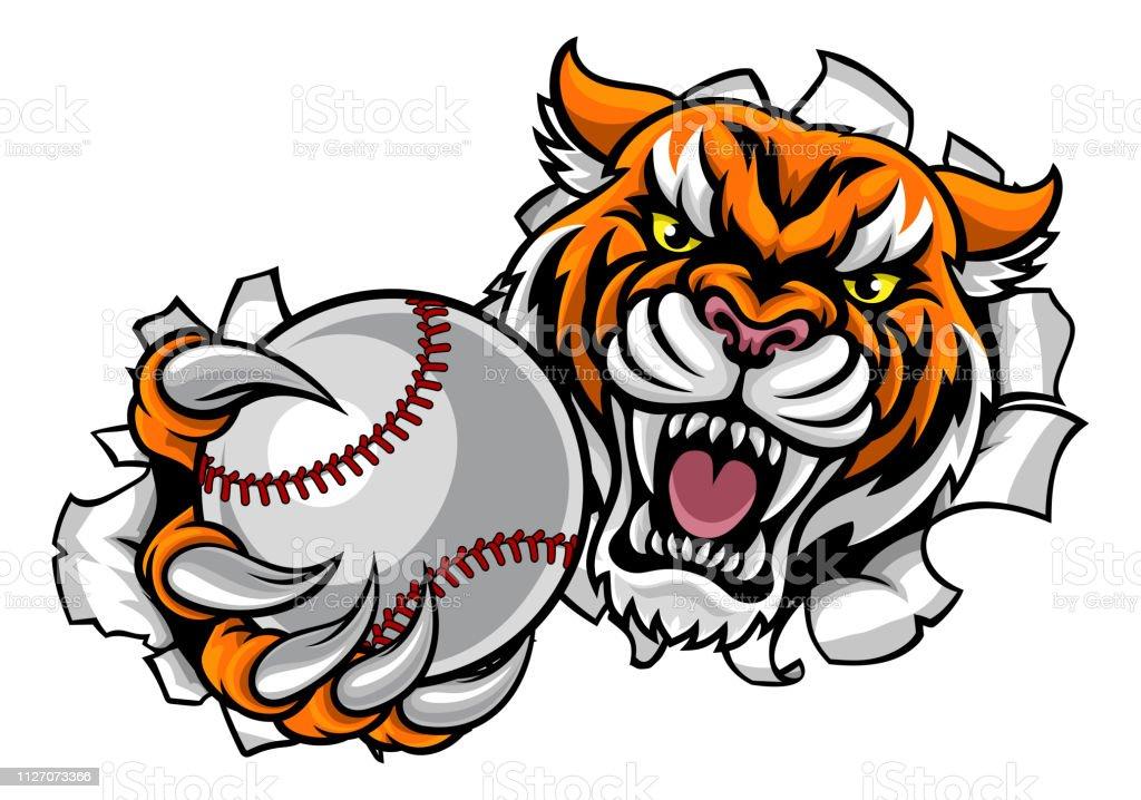 Tiger hält Baseball Ball brechen Hintergrund – Vektorgrafik