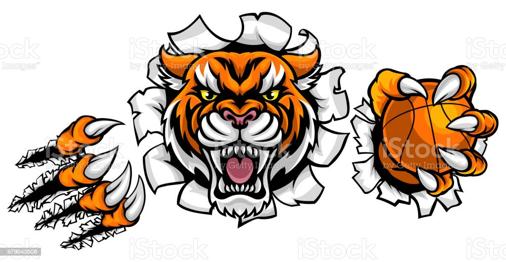 Tiger Holding Basketball Ball Breaking Background vector art illustration
