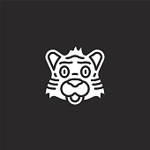 tiger icon. Filled tiger icon for website design and mobile, app development. tiger icon from filled animal avatars collection isolated on black background.