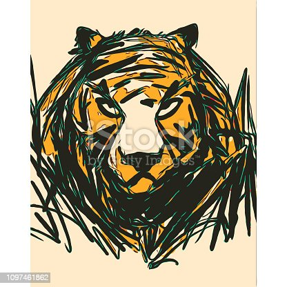Vector illustration of a portrait of a majestic tiger looking at the camera