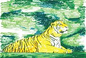 tiger in green forest painting background