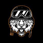 Tiger in racer helmet. Design element for label, emblem, sign, poster.