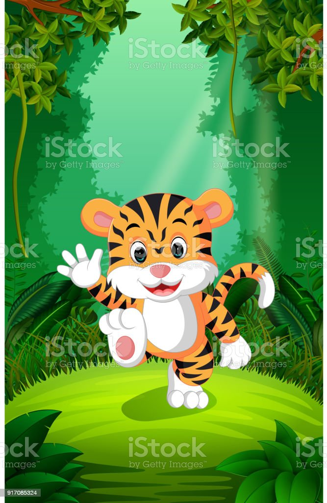 Tiger in the clear and green forest vector art illustration