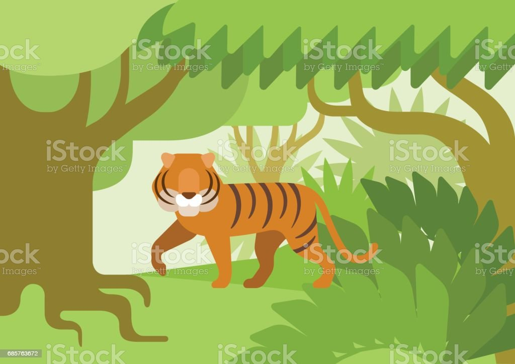 Tiger in the jungle habitat flat design cartoon vector wild animals. Flat zoo nature children collection. royaltyfri tiger in the jungle habitat flat design cartoon vector wild animals flat zoo nature children collection-vektorgrafik och fler bilder på barn