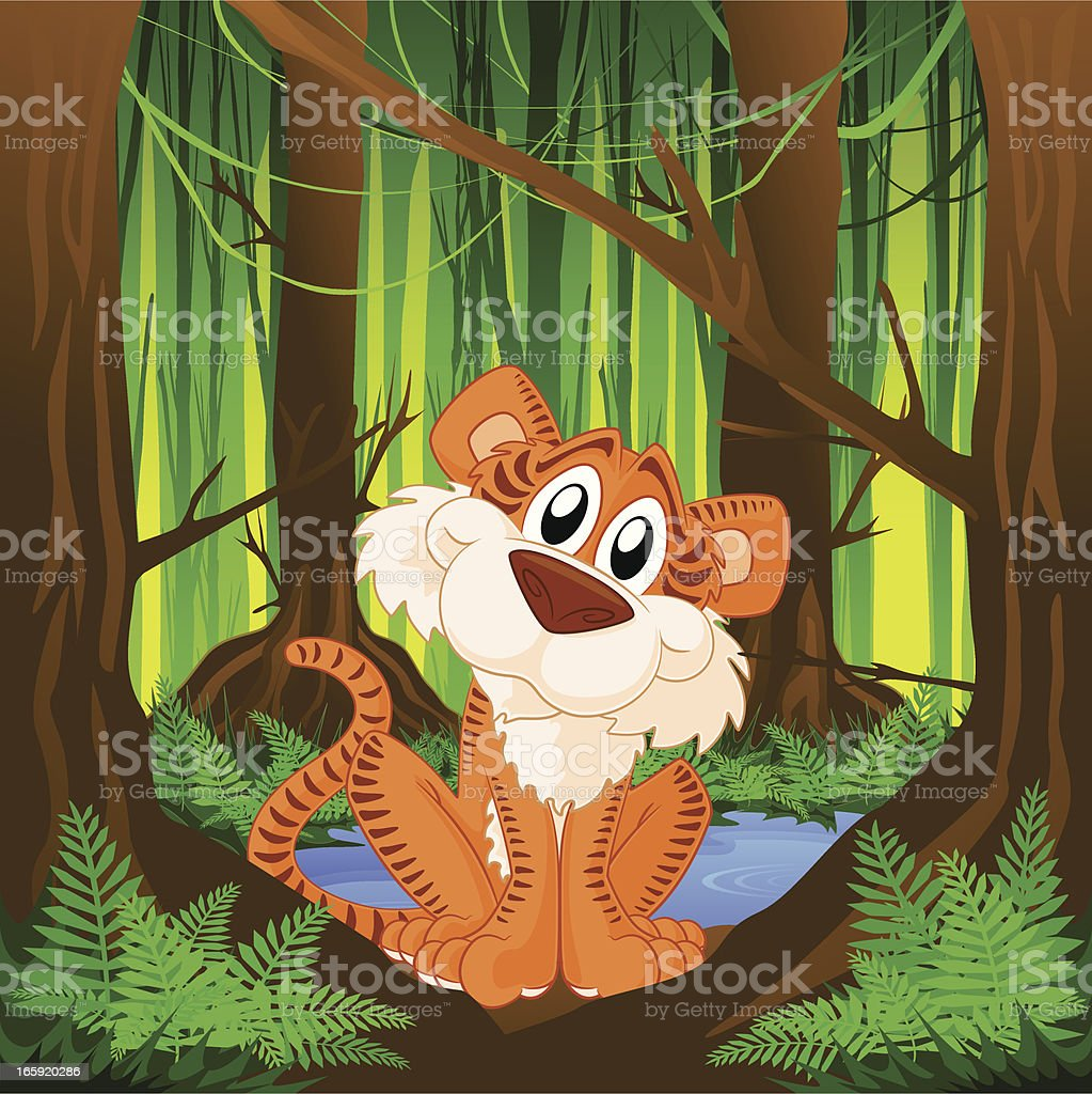 Tiger in the Jungle royalty-free tiger in the jungle stock vector art & more images of animal