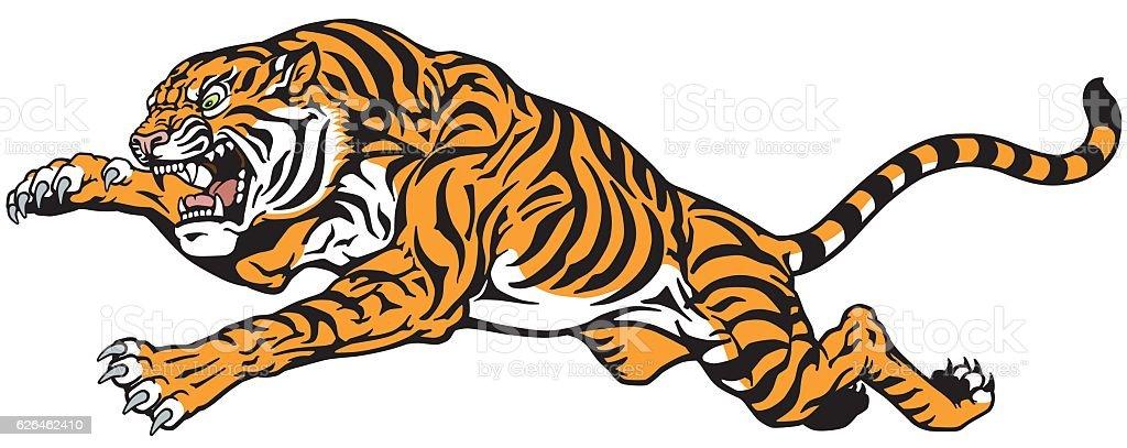 tiger jump tattoo vector art illustration