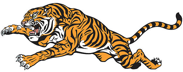 tiger jump tattoo - tiger stock illustrations, clip art, cartoons, & icons