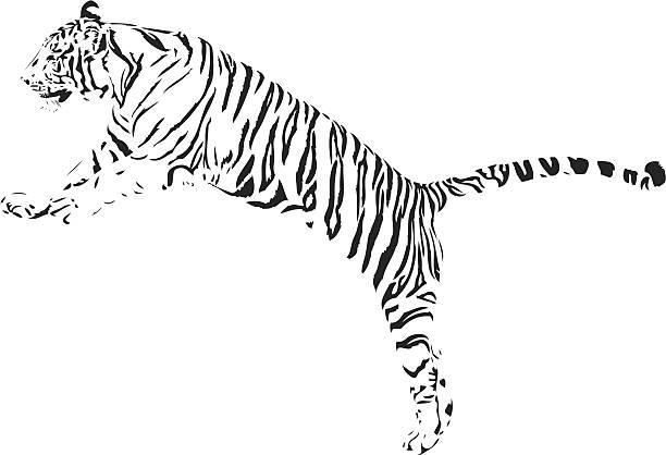 タイガージャンプ b &w - トラ点のイラスト素材/クリップアート素材/マンガ素材/アイコン素材