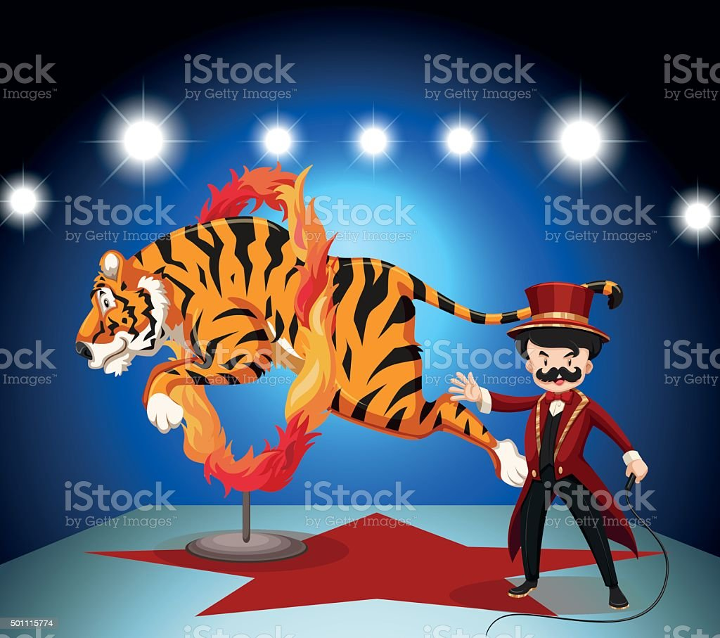 Tiger jumping through ring of fire vector art illustration