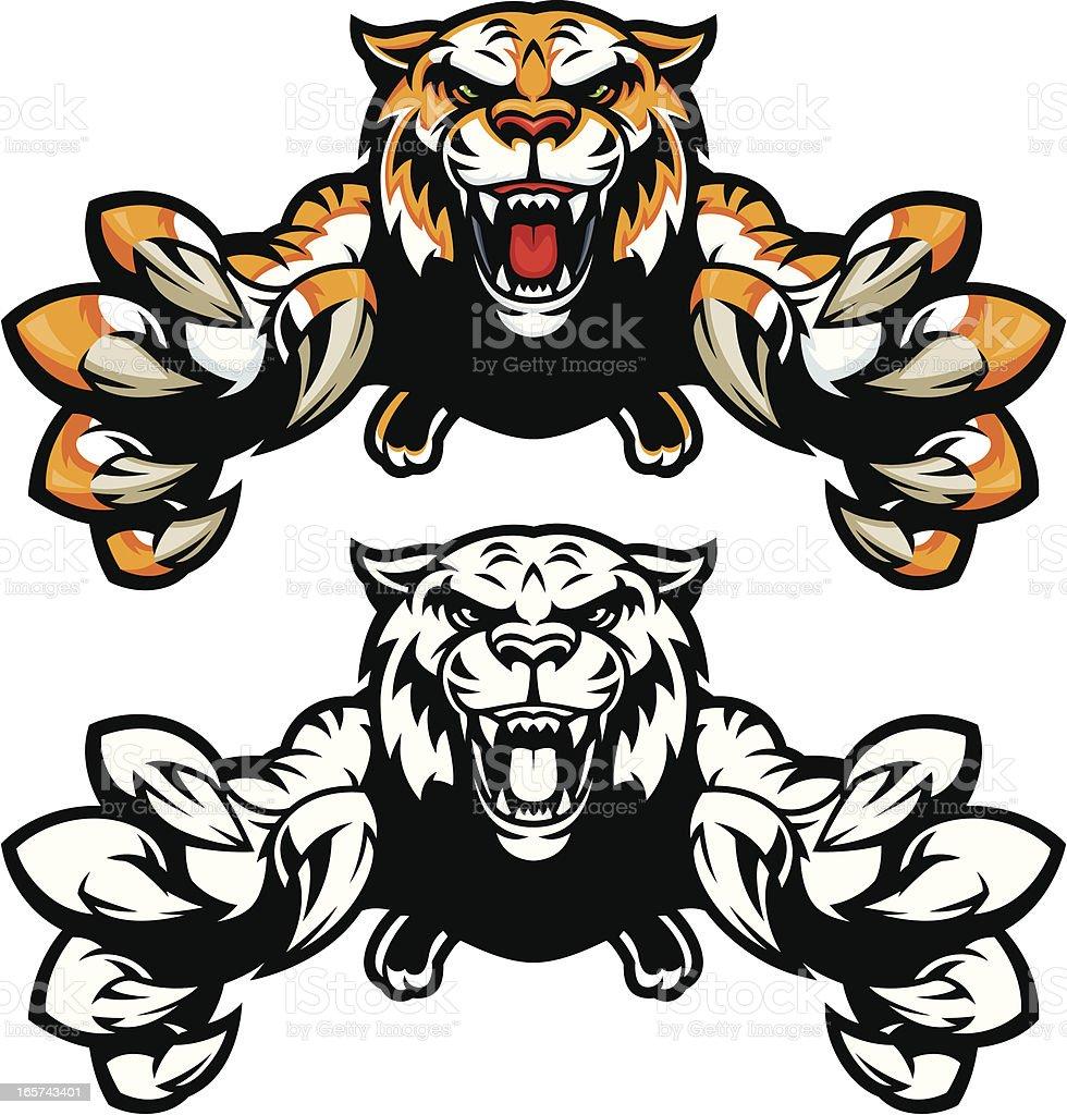 Tiger Jumping vector art illustration
