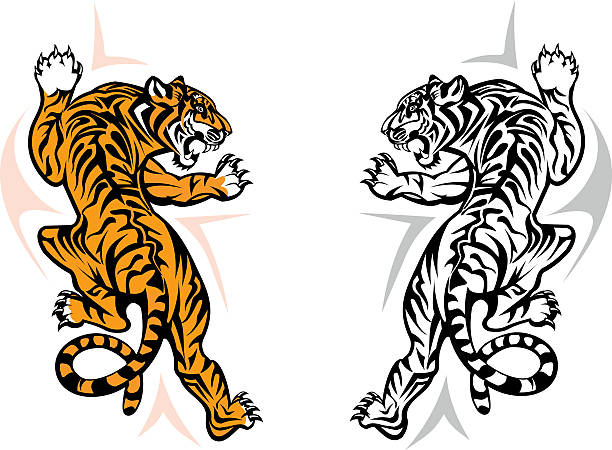 tiger jumping - tiger stock illustrations, clip art, cartoons, & icons
