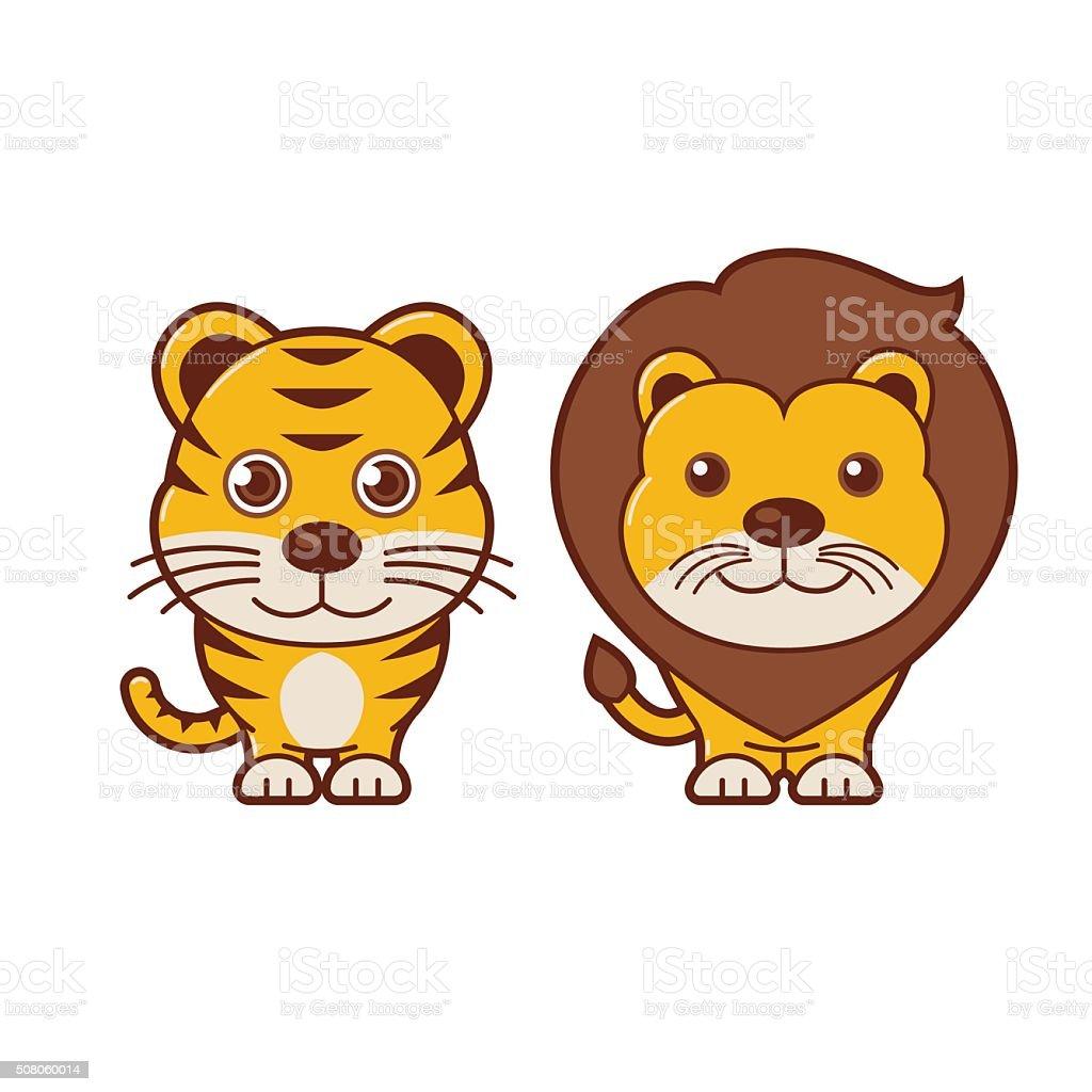 タイガー ライオンますかわいい動物イラスト 7 - おもちゃのベクター