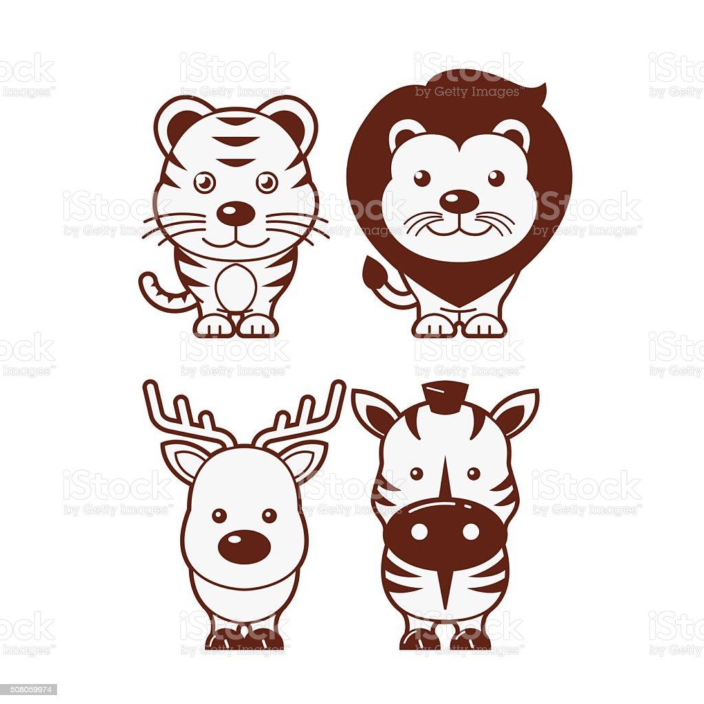 タイガーライオンシマウマ鹿 ますかわいい動物イラストセット おもちゃ