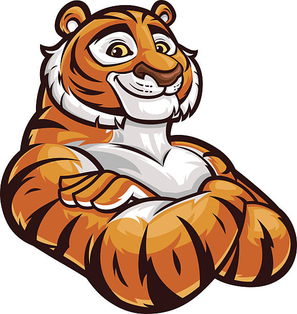tiger mascot - arms crossed - tiger stock illustrations, clip art, cartoons, & icons