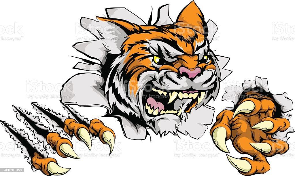 Maskotka Tygrys Wycofania Przełom Stockowe Grafiki