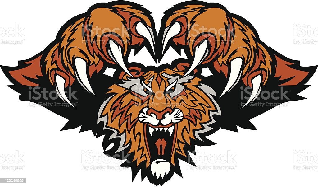 tiger mascot pouncing graphic logo stock vector art more images of rh istockphoto com tiger mascot clip art vinyl decal Tiger Mascot Vector