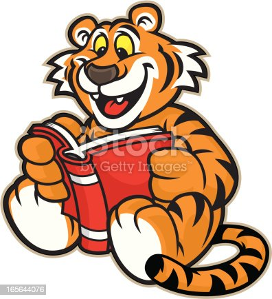 istock Tiger Mascot Reading 165644076