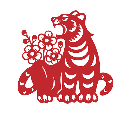 Tiger, papercut tiger, chinese zodiac, year of the tiger