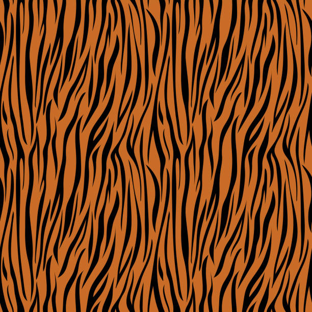 Tiger Print Seamless Pattern Wild animal print pattern design animal markings stock illustrations