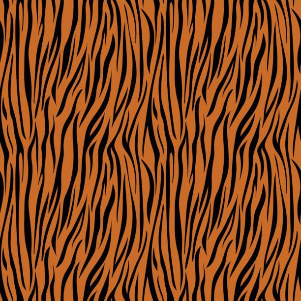 Tiger Print Seamless Pattern Wild animal print pattern design animal captivity building stock illustrations