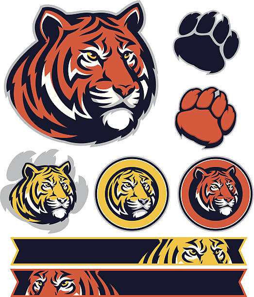 tiger promo pack - tiger stock illustrations, clip art, cartoons, & icons