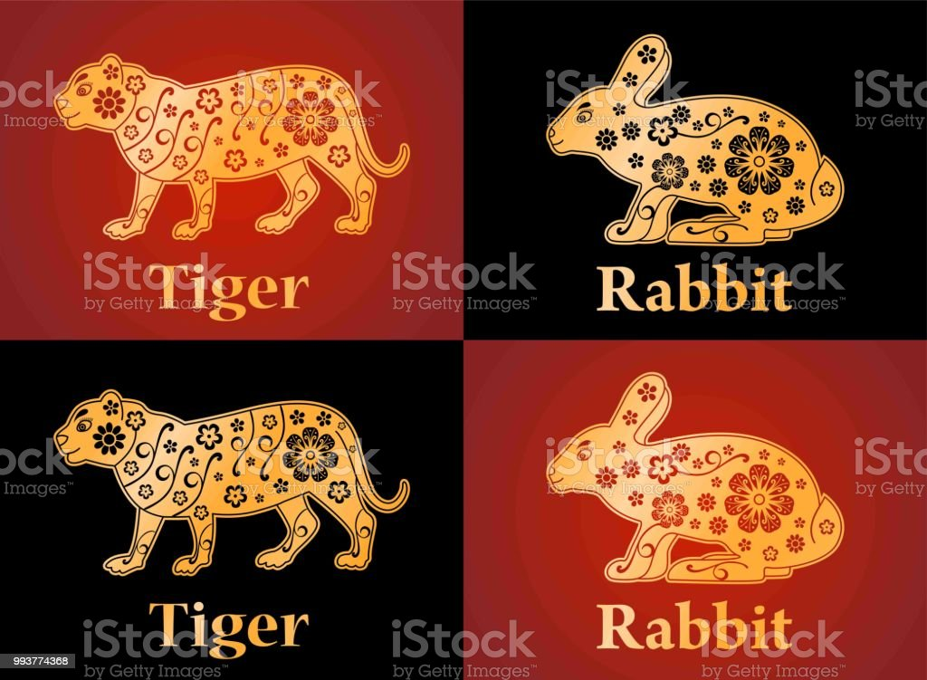 Tiger Rabbit Symbols Of The Chinese Horoscope 2022 2023 Years Floral