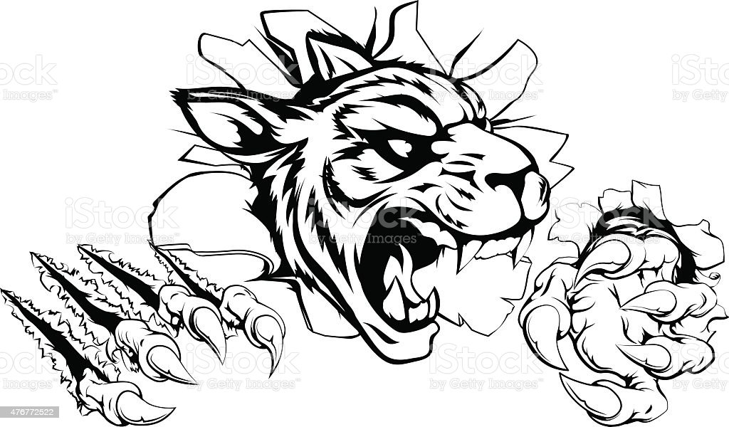 Tiger ripping through wall vector art illustration