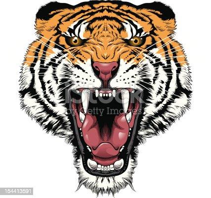 Illustration of a roaring tiger